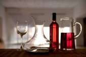 Decanter with red wine