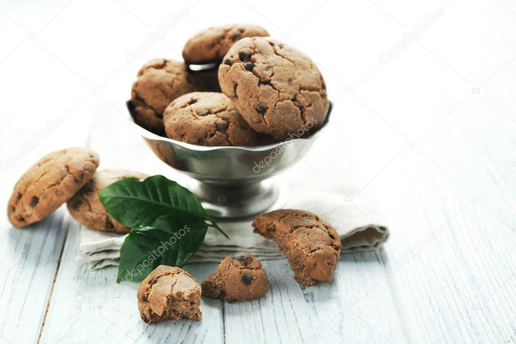 Bowl with delicious cookies