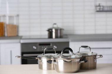 Metal pans in kitchen