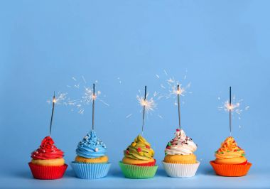 delicious Cupcakes with sparklers