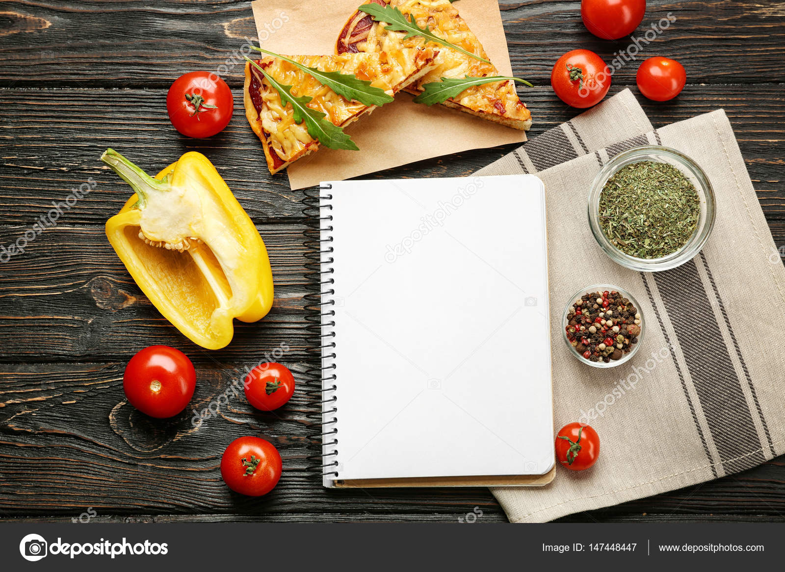 Still life with ingredients for pizza and recipe notebook on wooden still life with ingredients for pizza and recipe notebook on wooden table top view forumfinder Image collections
