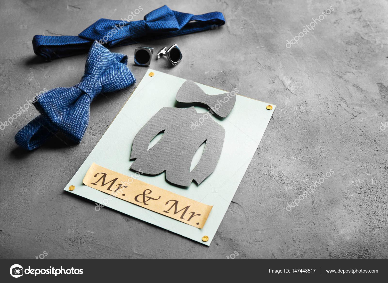 Gay Hochzeit Karte Einladung Auf Grauem Hintergrund U2014 Foto Von Belchonock