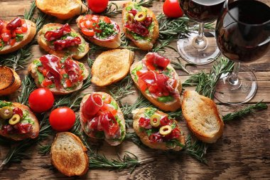 bruschetta served with wine