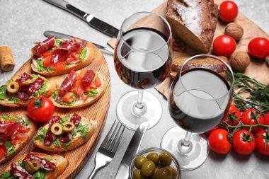 bruschetta served with wine