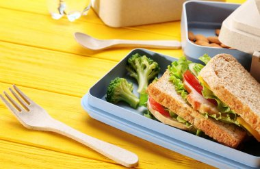 Healthy food in lunch boxes