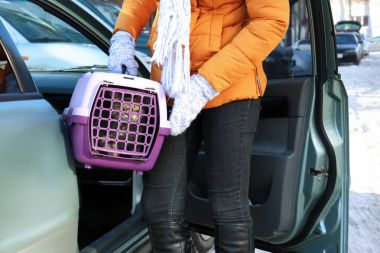 Woman with cat in carrier box