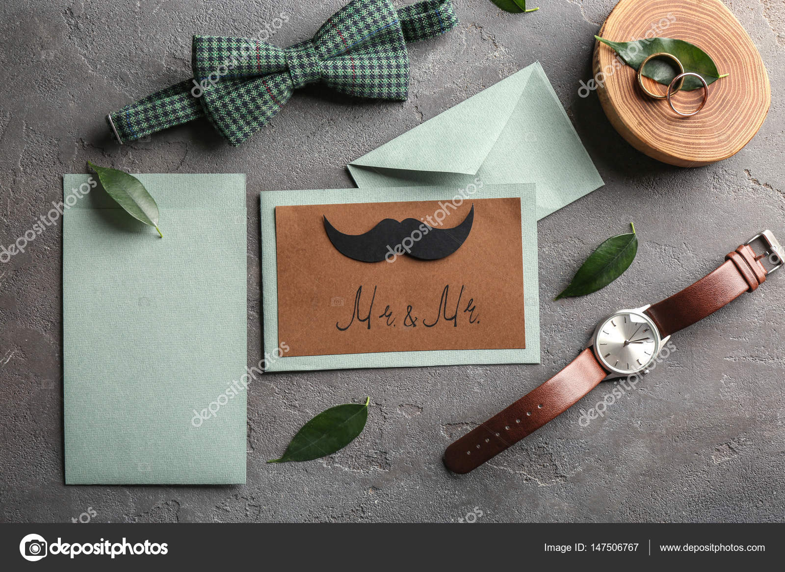 Schön Gay Hochzeit Karte Einladung Auf Grauem Hintergrund U2014 Foto Von Belchonock