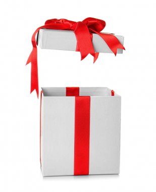 Opened gift box with red ribbon