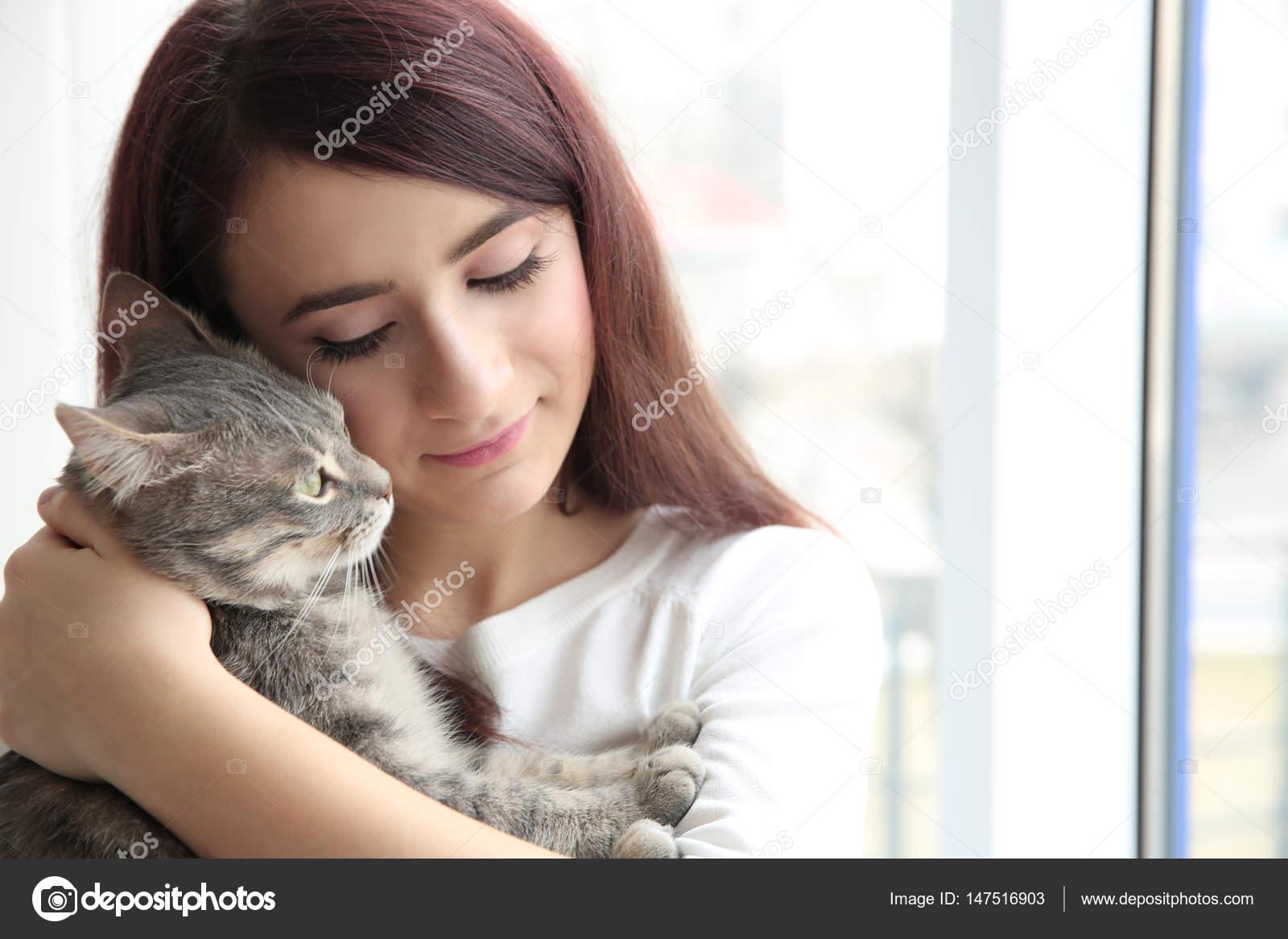 Beautiful Woman With Cute Cat Stock Photo C Belchonock 147516903