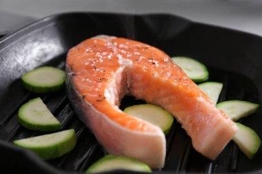 Cooking salmon steak