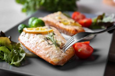 Delicious roasted salmon fillets