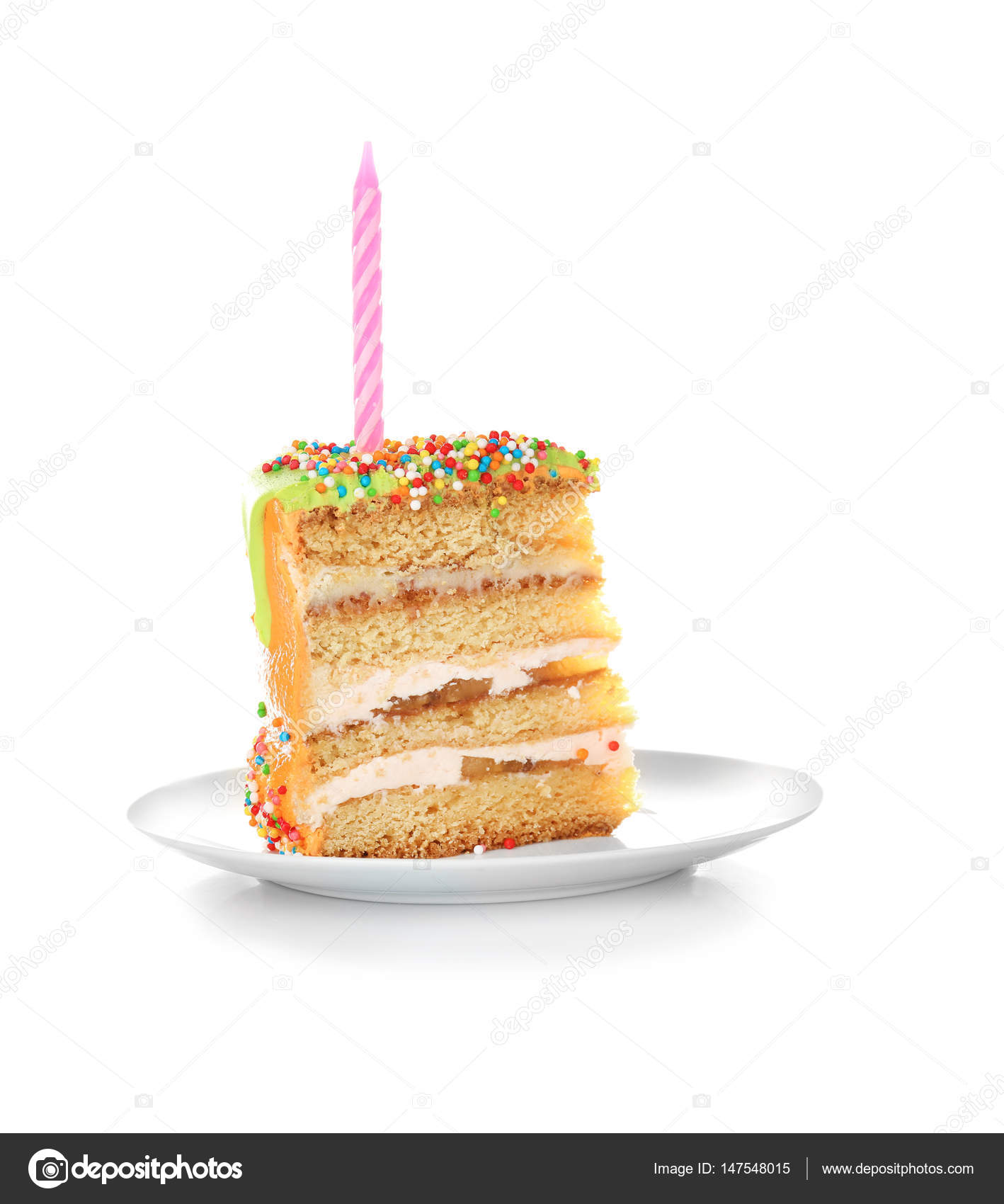 Excellent Slice Of Birthday Cake With Candle On White Background Stock Personalised Birthday Cards Paralily Jamesorg