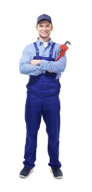 plumber holding pipe wrench