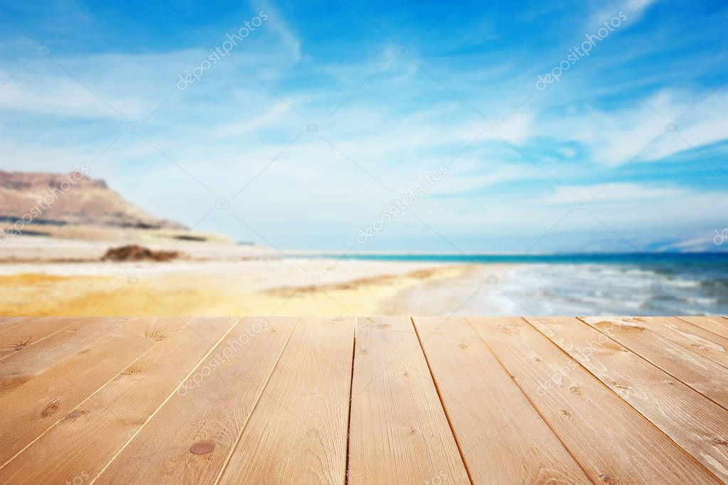 Wooden surface with beautiful landscape