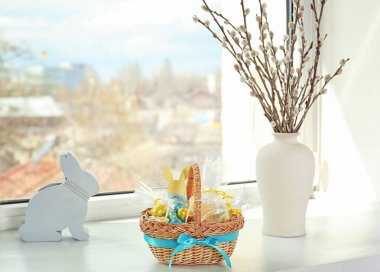 Easter basket with sweets and presents