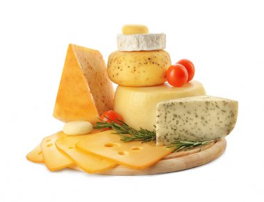 Wooden board with tasty cheese