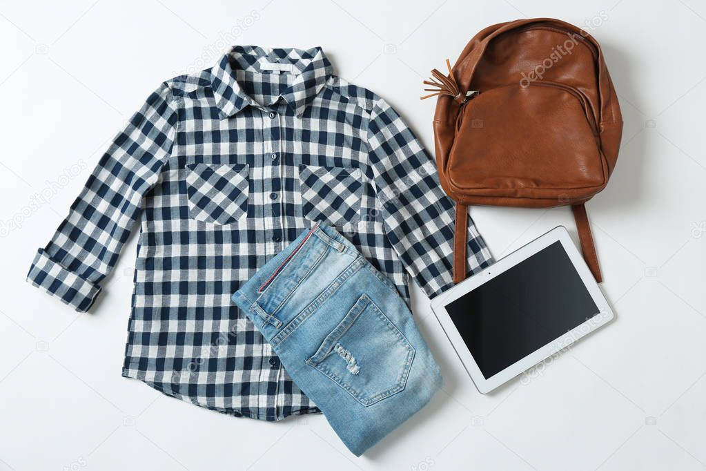 Set of stylish clothes and accessories