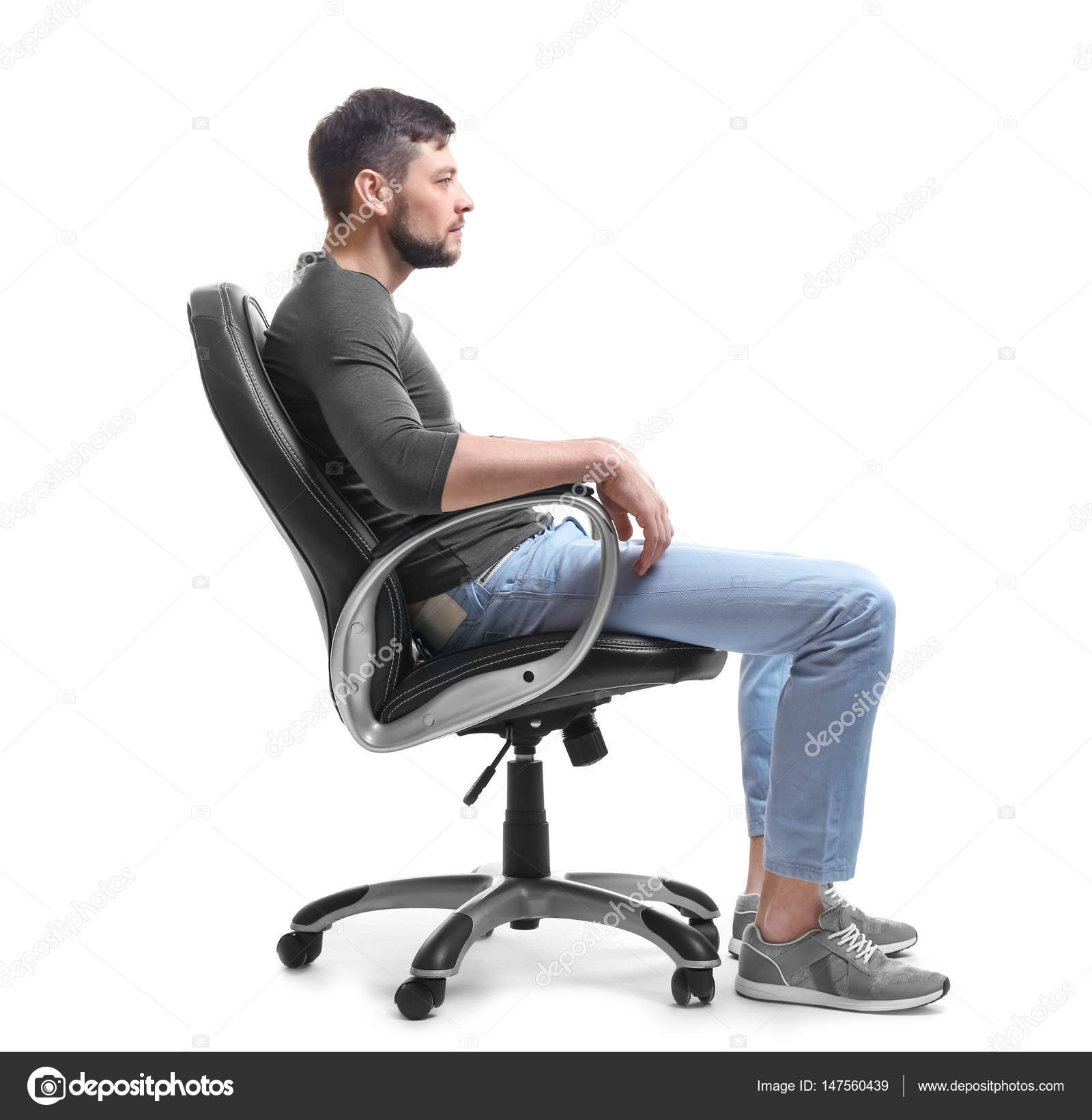 Man sitting in armchair stock photo belchonock 147560439 for Sitting in armchair