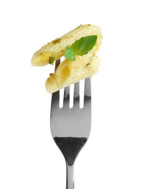Fork with tasty pasta on white background