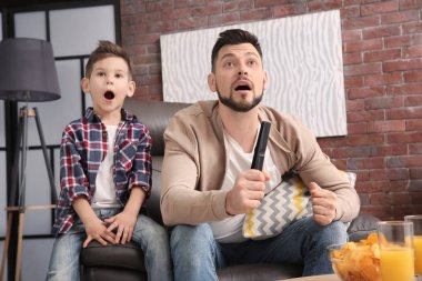 Father and son watching TV