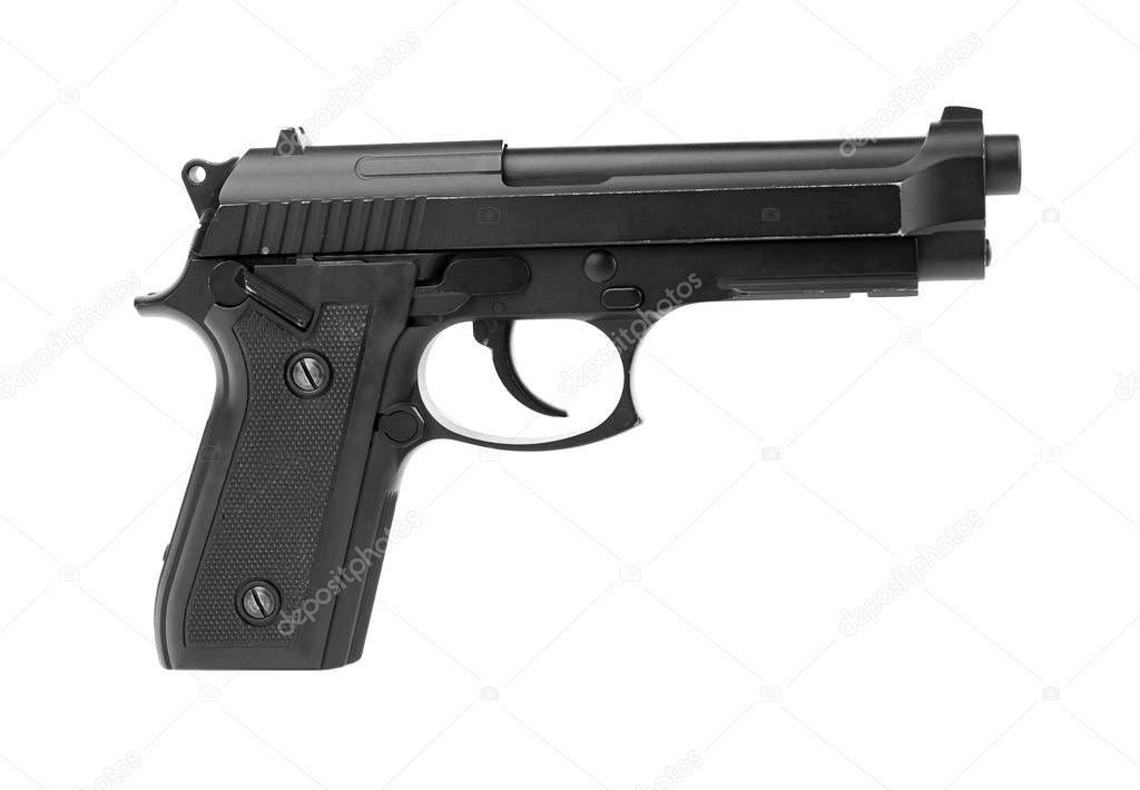 Gun on white background, close up stock vector