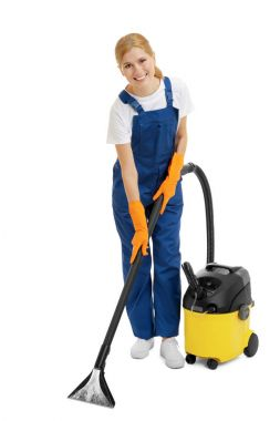 Woman with vacuum cleaner on white background