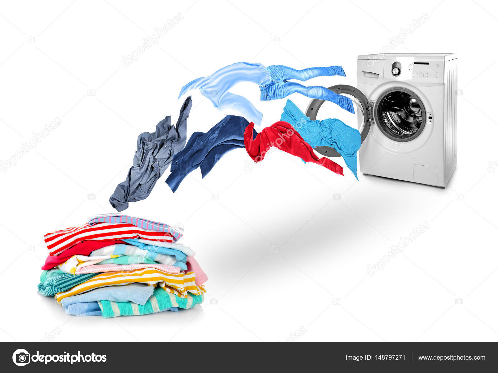 Washing machine and flying clothes — Stock Photo ...