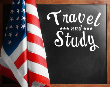 USA flag and text TRAVEL AND STUDY