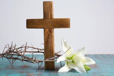 Crown of thorns, wooden cross