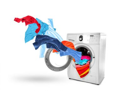 Washing machine and flying clothes