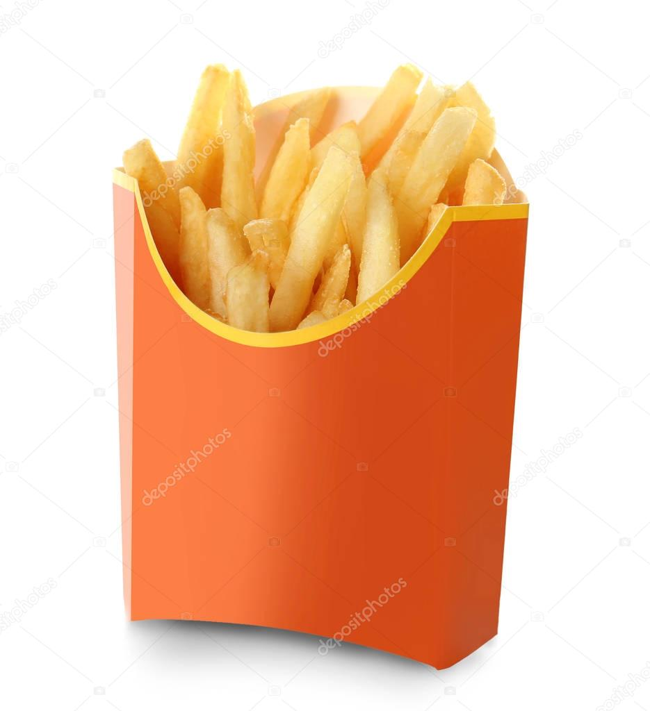 Carton box with delicious French fries