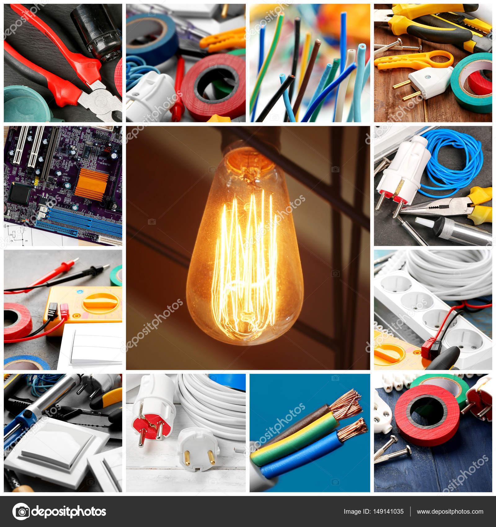 Collage für elektrische Installationsarbeiten — Stockfoto ...