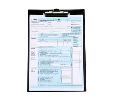 Clipboard with individual tax return form