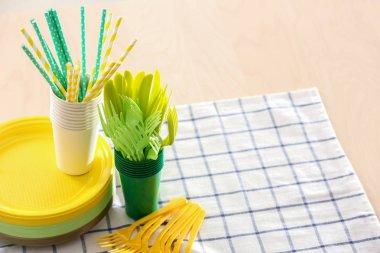Plastic ware on table
