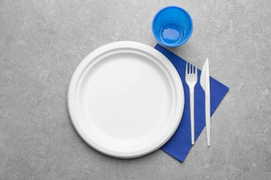 White plastic disposable tableware