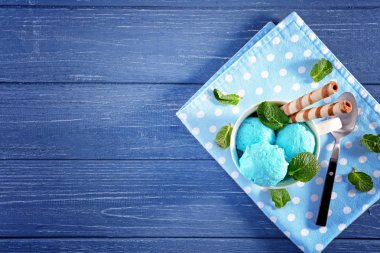 Tasty mint ice cream in cup