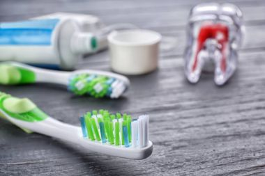 Toothbrush on wooden background