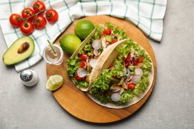 Delicious tacos with tequila