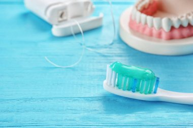 Toothbrush with paste  closeup