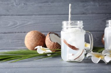 Mason jar with coconut water