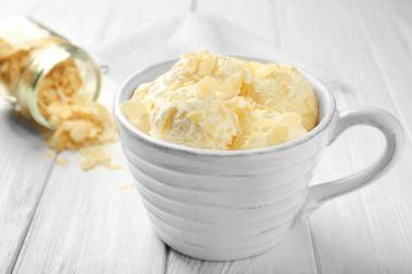 Tasty ice-cream with almond slices