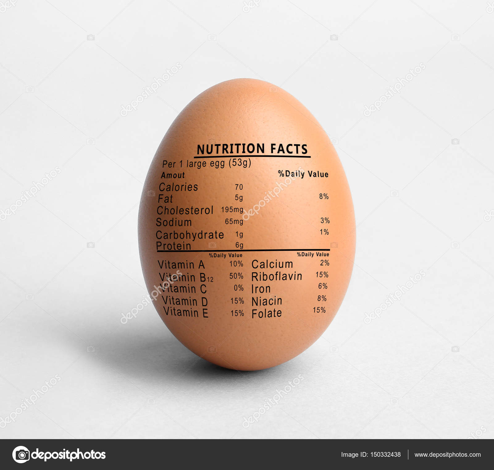 Raw egg and list of nutrition facts on white background — Photo by  belchonock