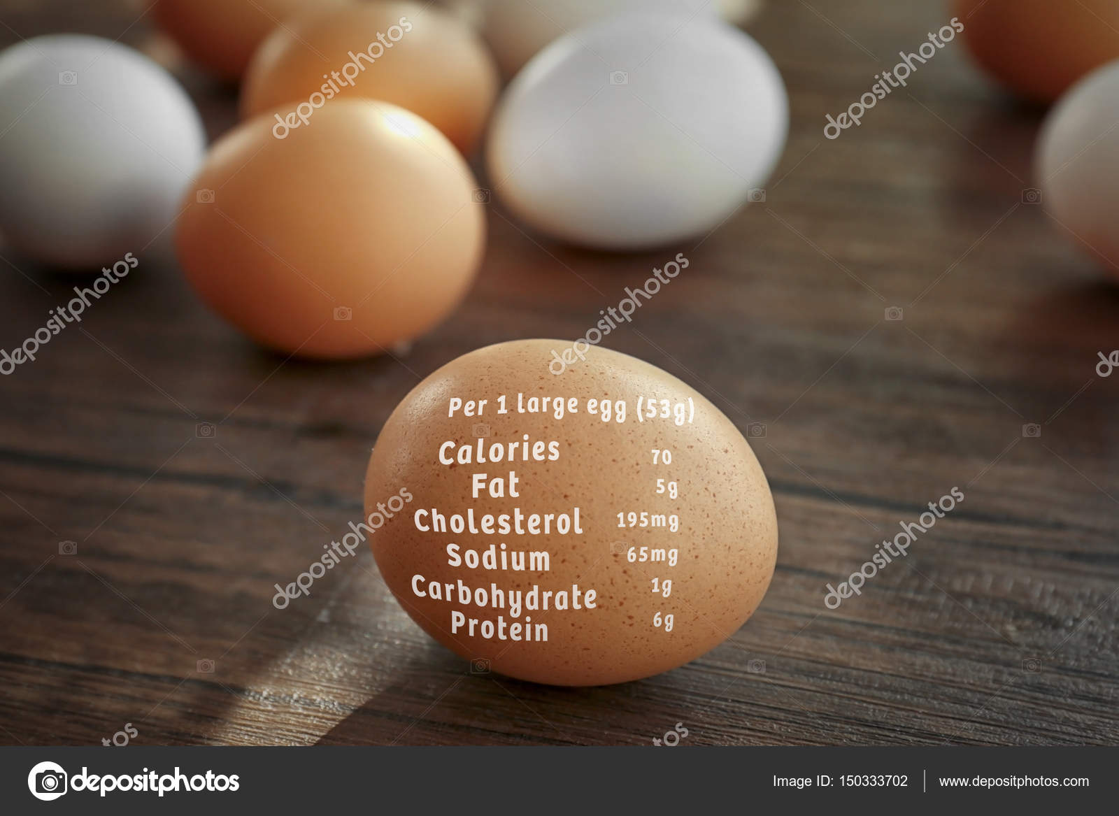 Raw eggs and list of nutrition facts — Stock Photo