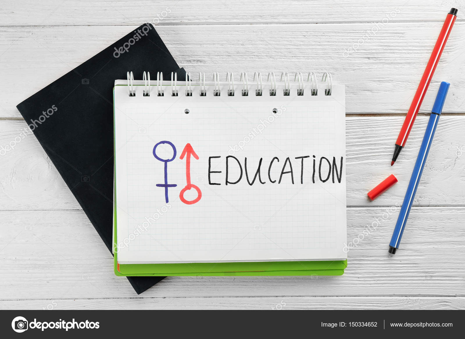 Text sex education stock photo belchonock 150334652 male and female symbols with word education in exercise book on white wooden background photo by belchonock biocorpaavc Images