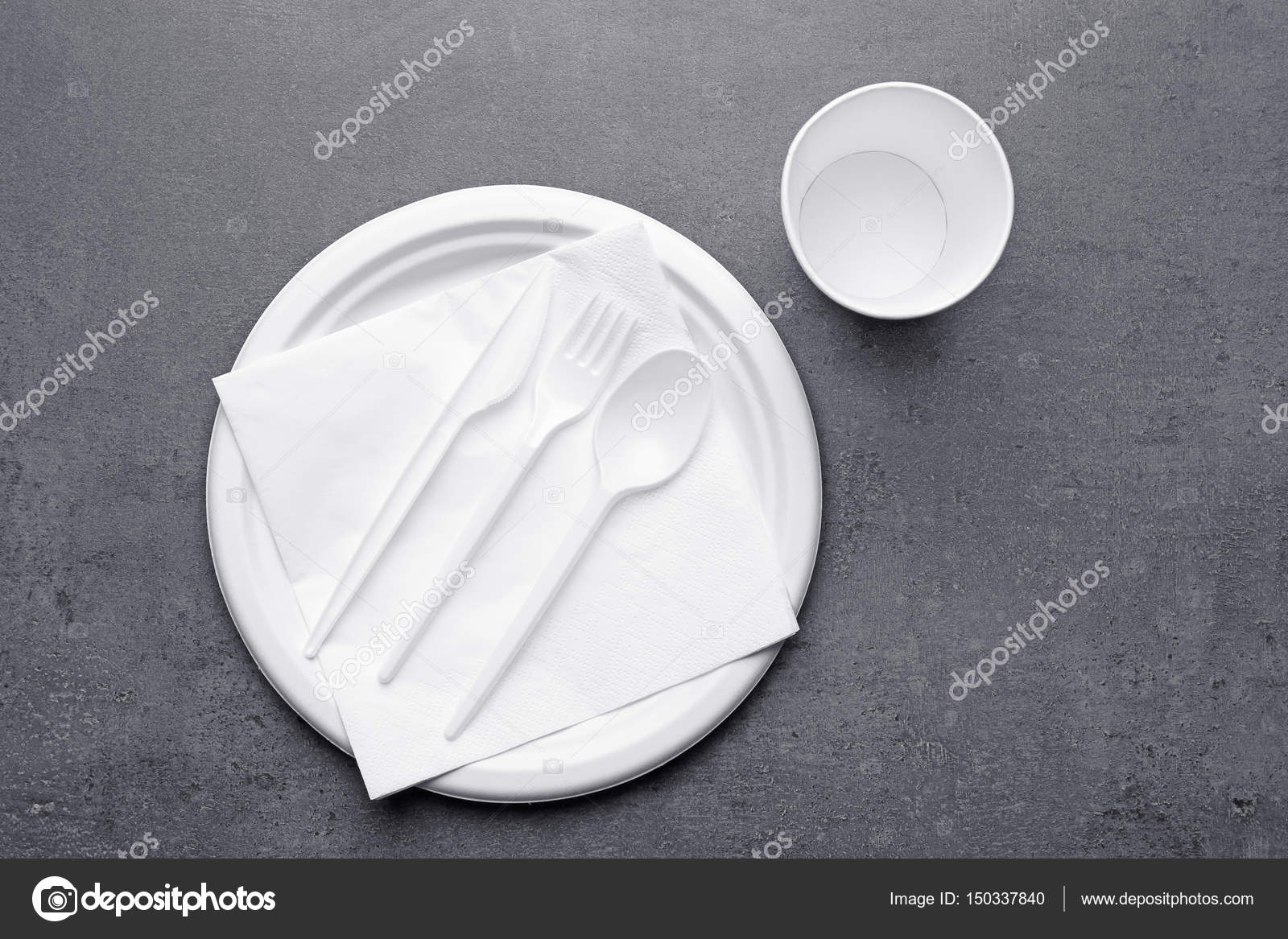 Plastic disposable tableware u2014 Stock Photo & plastic disposable tableware u2014 Stock Photo © belchonock #150337840