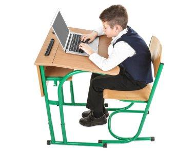 Schoolboy sitting at desk