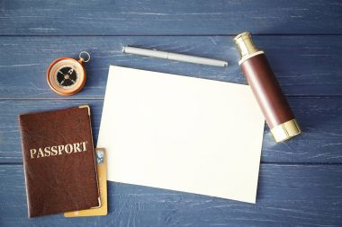 Passport, compass and spyglass