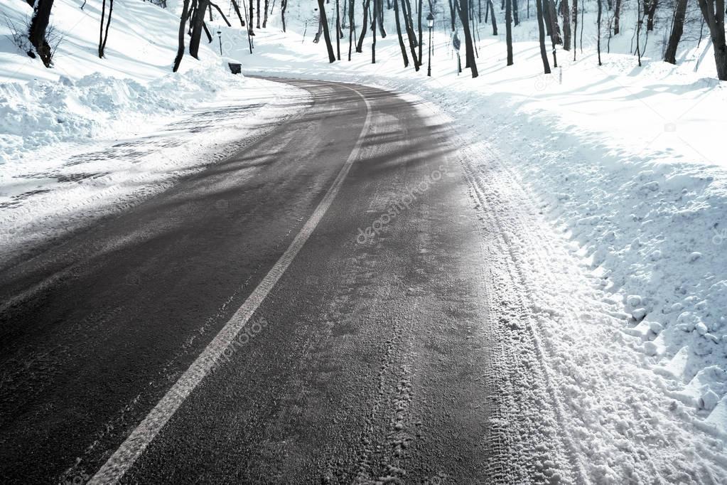 Winter road outside city