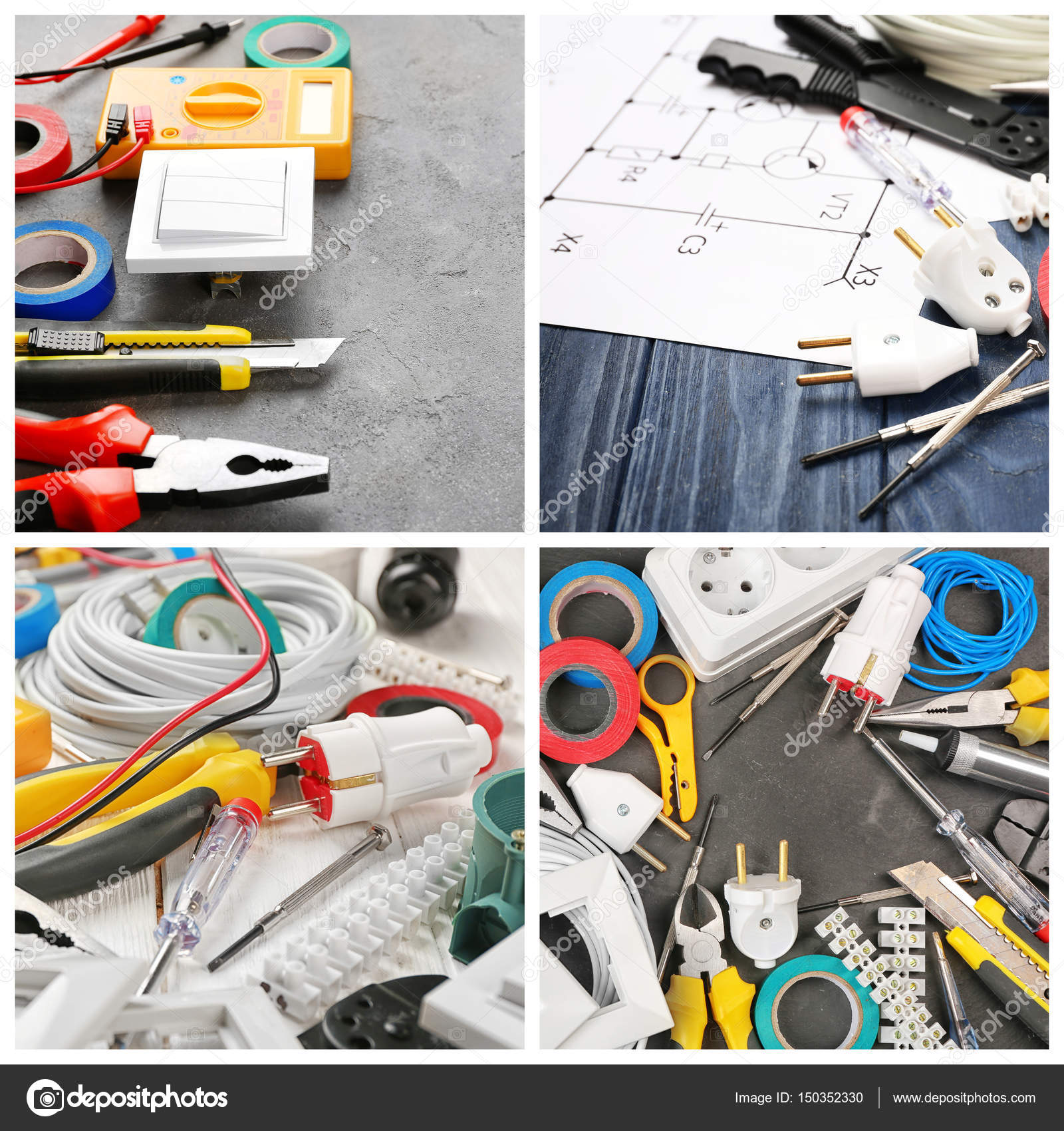 Collage Electric Installation Work Concept — Stock Photo ...