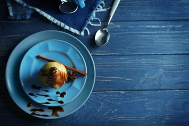 Tasty pears with sweet sauce